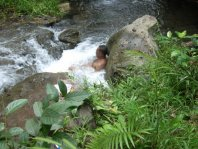Bathing near the water fall